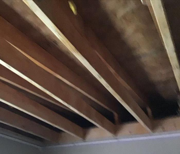 wooden ceiling with ridges
