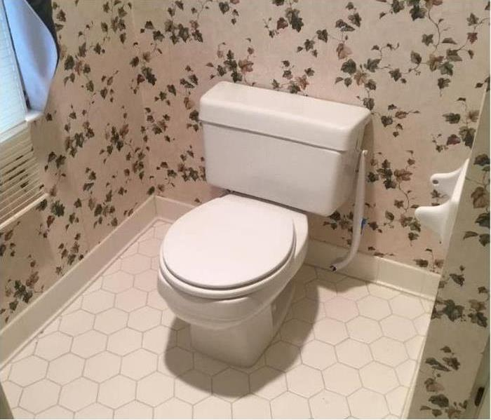 Hexagon tiled flooring with a white toilet and roses on the wall paper.