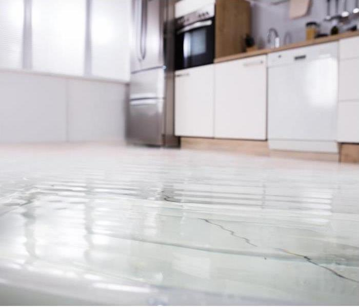 water on the floor of a kitchen with a window and kitchen room appliances to the right.